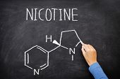 Nicotine molecule chemical structure on blackboard. Chemical structure of nicotine from cigarettes w