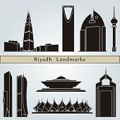 stock photo of riyadh  - Riyadh landmarks and monuments isolated on blue background in editable vector file - JPG