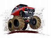 stock photo of monster-truck  - Vector Cartoon Monster Truck isolated on white - JPG