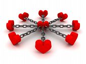 stock photo of cheater  - Eight hearts linked by black chain to one heart in center - JPG