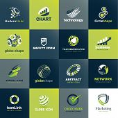 stock photo of social-security  - Set of vector icons for business and technology - JPG