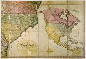 picture of usa map  - Antique map of United States c. 1800. Photo from old reproduction