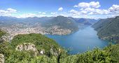 picture of salvatore  - Mountain panorama scenic landscape view in southern Alps at lake Lugano Mount San Salvatore in Como district in Italian and Swiss border - JPG