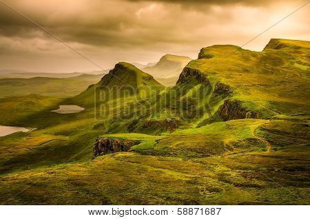 Scenic View Of Quiraing Mountains Sunset With Dramatic Sky, Scotland poster