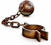 stock photo of shackles  - high resolution 3D rendering of a shackle concept - JPG
