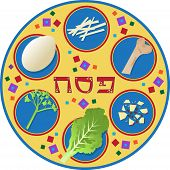 foto of seder  - Cute Passover plate and its symbols - JPG
