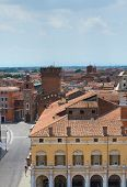 Panoramic view of Ferrara. Emilia-Romagna. Italy.