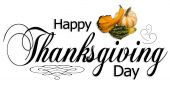 picture of happy thanksgiving  - Happy Thanksgiving type with autumn gourds and ornaments - JPG