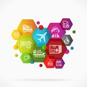 stock photo of dispatch  - Abstract colorful illustration with logistics background vector - JPG