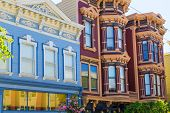 image of victorian houses  - San Francisco Victorian houses in Pacific Heights of California USA - JPG