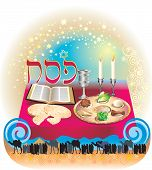 stock photo of torah  - Greeting card of the Jewish Passover - JPG