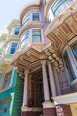foto of victorian houses  - San Francisco Victorian houses near Alamo Square in California USA - JPG