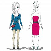 stock photo of jeans skirt  - hand drawn illustration of a fashion girl woman - JPG
