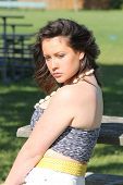 picture of halter-top  - Upper profile of a pretty young teen - JPG