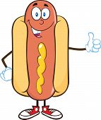 stock photo of wiener dog  - Smiling Hot Dog Cartoon Mascot Character Showing A Thumb Up - JPG