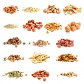 stock photo of hazelnut  - Collection of nuts - JPG
