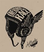 stock photo of motorcycle  - Motorcycle Themed  handmade drawing helmet - JPG