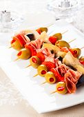 pic of artichoke hearts  - Antipasti skewers with olives - JPG