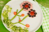 image of olive shaped  - Salad shaped as fancy flowers a kid meal - JPG
