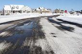 picture of track home  - Suburban neighborhood in winter - JPG