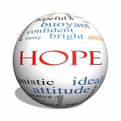 foto of idealistic  - Hope 3D sphere Word Cloud Concept with great terms such as optimistic goal wish and more - JPG