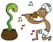 stock photo of hypnotic  - Illustration of a snake charmer hypnotizing a snake - JPG