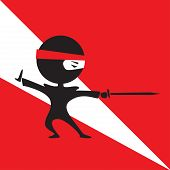 foto of ninja  - vectoor cartoon cute ninja fighting with a sword - JPG