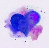 Watercolor Heart. Blue And Purple Colors