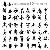 stock photo of cyborg  - Vector image of black retro robot icons - JPG