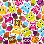 foto of owl eyes  - Seamless and Tileable Vector Owl Background Pattern - JPG