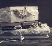 stock photo of casket  - Vintage Albums With Photos And Memories Things - JPG