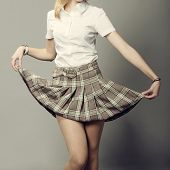 pic of short skirt  - fashion young lady lifting up her short plaid skirt - JPG