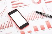 Blank Mobile Phone  On Red Graphs, Charts , Data And Business Report Summarizing Background poster