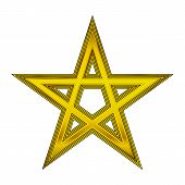 stock photo of pentacle  - Gold pentagram icon on white background - JPG