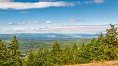 picture of orca  - View of (foreground) San Juan, Spieden, Stuart, Johns, South Pender and (background) South Vancouver Islands, from Turtleback Mountain Preserve, Orcas Island, San Juan Islands, WA ** Note: Shallow depth of field - JPG