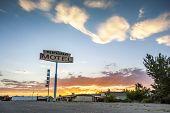 image of motel  - Big Restaurant Motel Sign in Utah USA - JPG