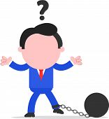 foto of ball chain  - Vector cartoon confused blue faceless businessman chained to ball on white - JPG