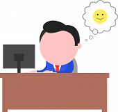stock photo of faceless  - Vector cartoon blue faceless businessman working behind desk with computer monitor happy smiley bubble on white - JPG