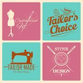 foto of tailoring  - illustration of vintage style label for tailor emblem - JPG