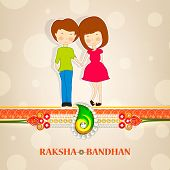 pic of rakhi  - Cute little sister and brother holding hands with beautiful rakhi on shiny brown background for Raksha Bandhan celebrations - JPG
