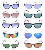 stock photo of protective eyewear  - Group of beautiful sunglasses isolated on white background - JPG