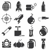 stock photo of bombshell  - set of 16 weapon icons - JPG