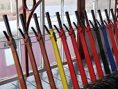 picture of levers  - The Control Levers in a Vintage Railway Signal Box - JPG