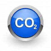 picture of carbon-dioxide  - carbon dioxide blue glossy web icon - JPG