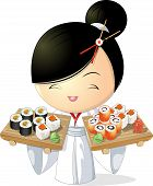 picture of japan girl  - girl chef that keeps sushi in hand  - JPG