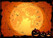 stock photo of gourds  - Horizontal Halloween night background with Moon spiders and Jack O - JPG