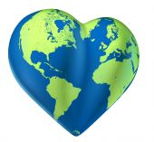 stock photo of loveless  - Heart world map of love Valentine planet - JPG