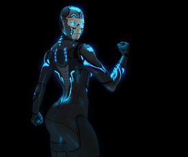 foto of cyborg  - 3d render of a android cyborg woman - JPG