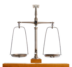 picture of pendulum  - Vintage metal pendulum scale with the two empty pans balanced in equilibrium isolated on white symbolic of justice and equality - JPG