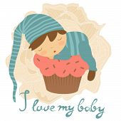 pic of sleeping baby  - Cute baby card with baby boy sleeping on a cupcake - JPG